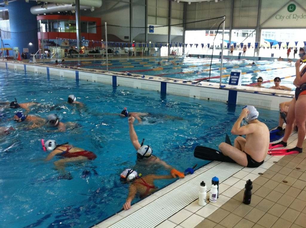 Underwater Hockey game during the NSW State Titles 2012