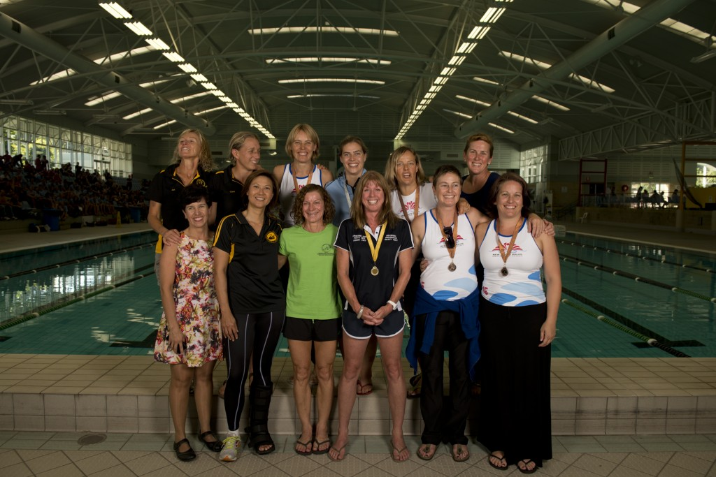 2013 Australian Women's Masters Underwater Hockey team. Photo by Jack Robert-Tissot.