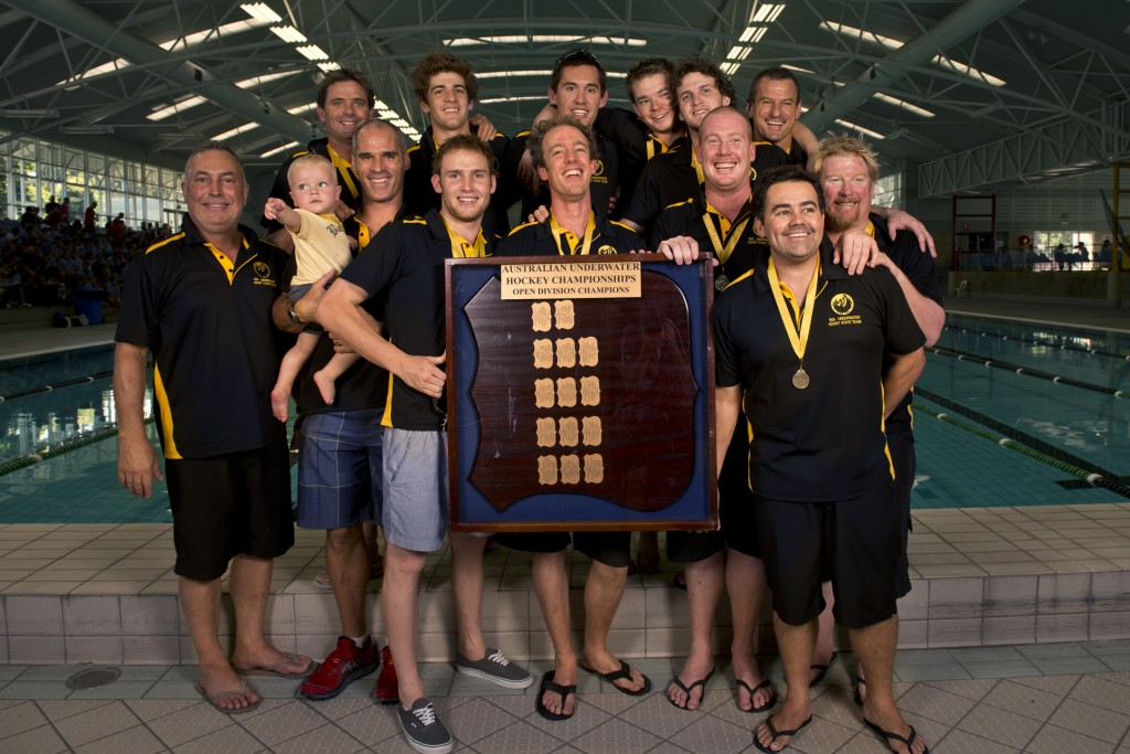 2013 Australian Underwater Hockey Championships Men's Open Gold Medal winning team: Western Australia.
