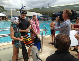 Caleb and Perri being interviewed for TV show Totally Wild.