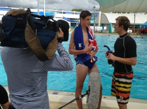 Tom (VIC) bieng interviewed by Toally Wild at Gold Coast Nationals.